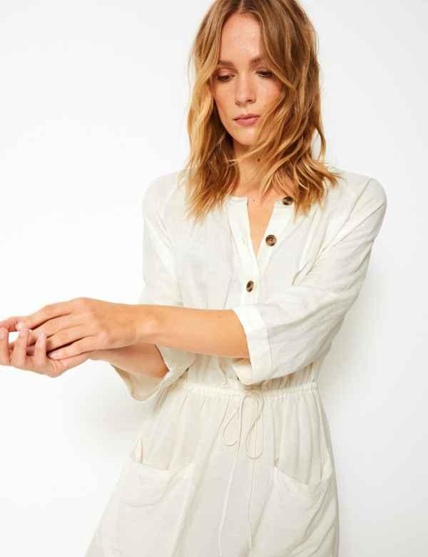 29448cb2683 Linen Blend 3 4 Sleeve Waisted Midi Dress