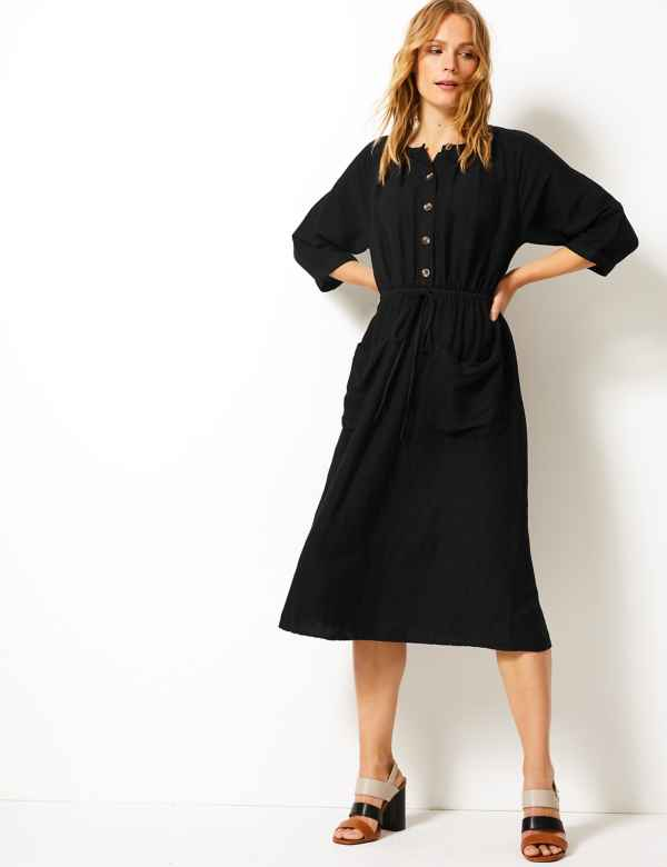 852c09680e27 Linen Blend 3 4 Sleeve Waisted Midi Dress