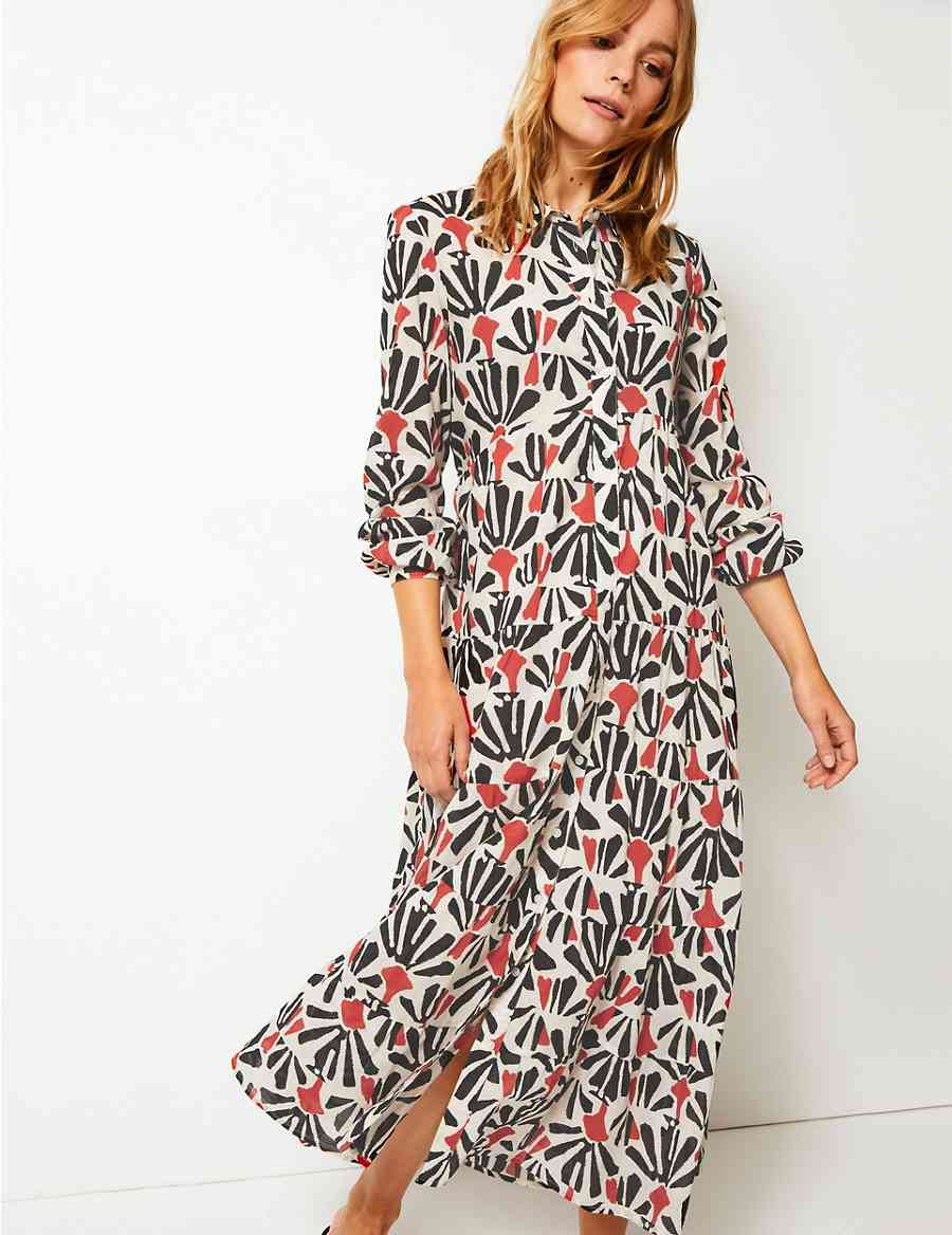 64f5f57a0516 Tiered Floral Print Maxi Shirt Dress