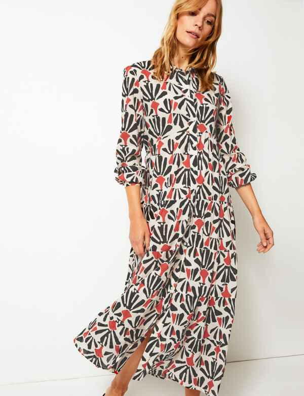 fc7b81c59d4 Tiered Floral Print Shirt Maxi Dress