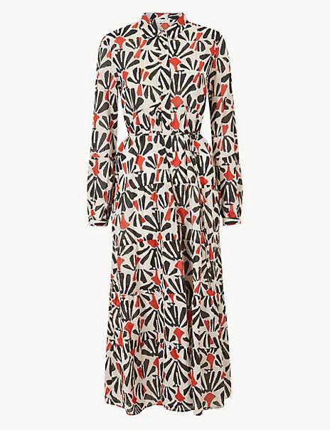 Tiered Floral Print Shirt Midi Dress