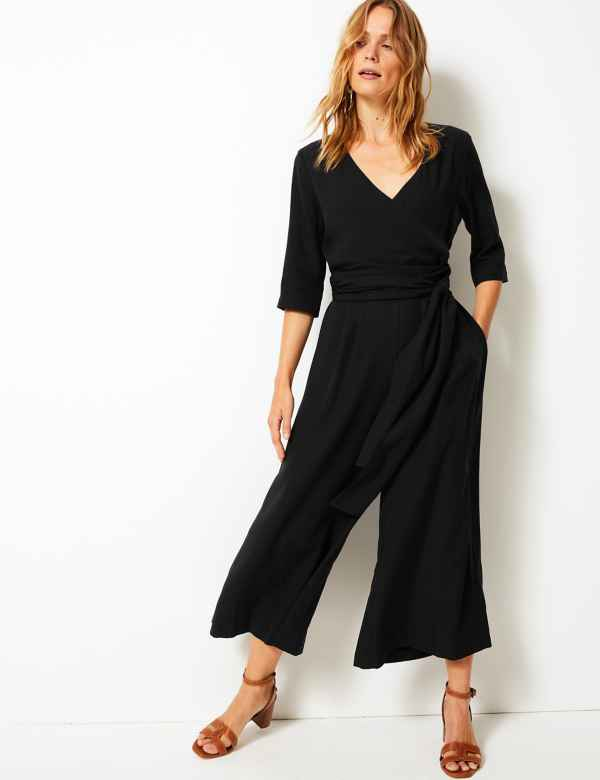 779ac29b36 Short Sleeve Wrap Jumpsuit