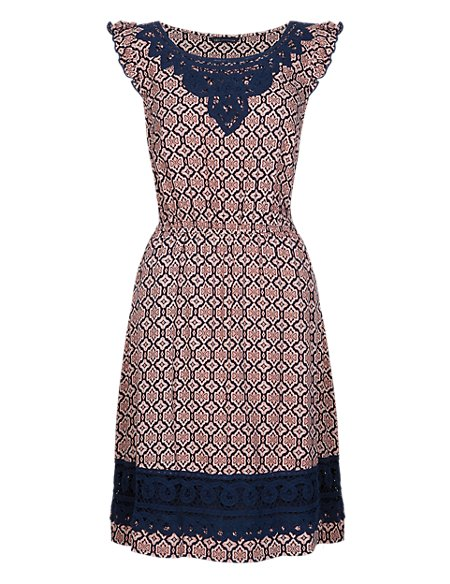 Tile Print Crochet Trim Fit & Flare Dress