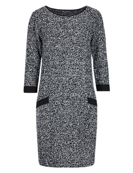 3/4 Sleeve Textured Tunic Dress in Shorter & Longer Lengths