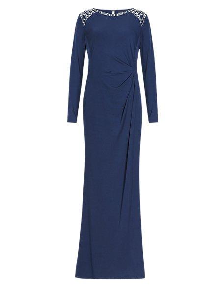 Jewel Embellished Shoulder Maxi Dress ONLINE ONLY