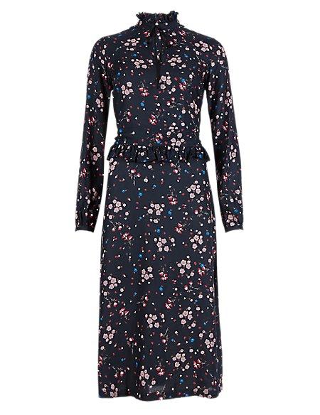 489e42a8bb23f Pure Modal Vintage Style Floral Midi Dress