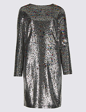 Sequin Long Sleeve Shift Dress