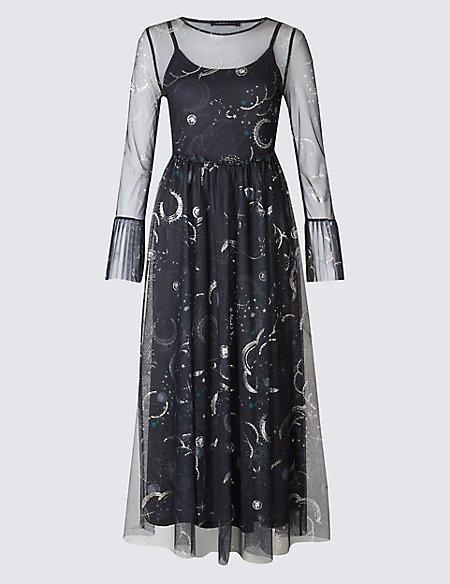 Printed Mesh Flared Sleeve Midi Dress