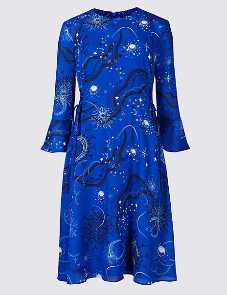 Printed Tie Side Flared Sleeve Midi Dress