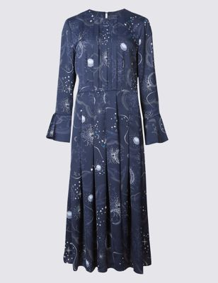 Constellation Print Long Sleeve Midi Dress Limited