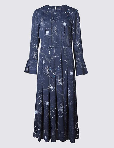Constellation Print Long Sleeve Midi Dress