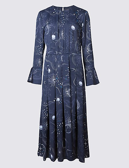 Constellation Print Long Sleeve Midi Dress