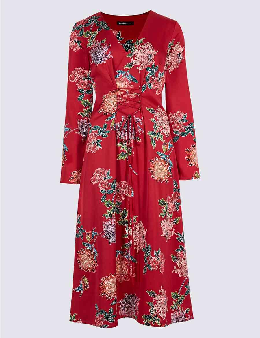 5770fe703b2 Floral Print Satin Swing Midi Dress