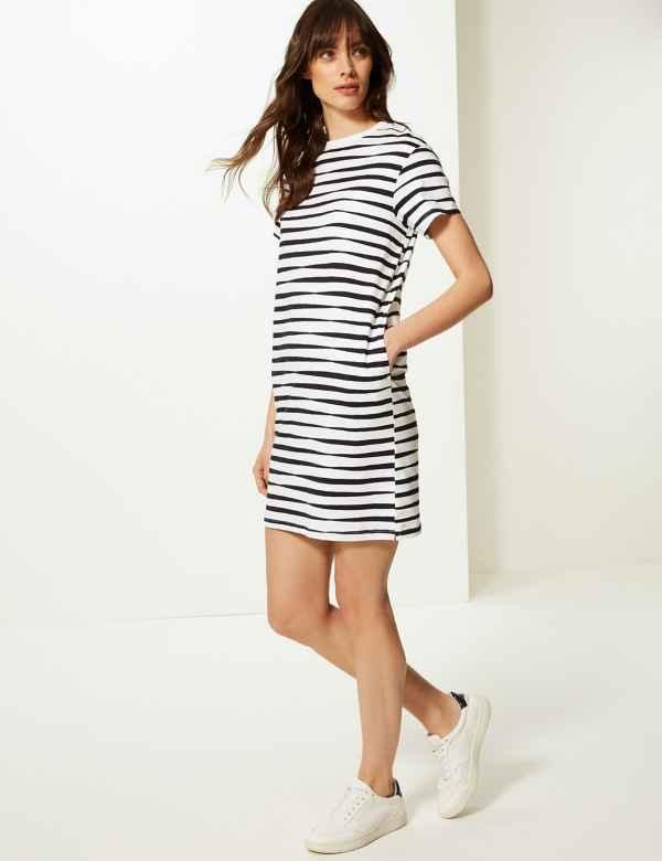 e923f3bf7be Pure Cotton Striped T-Shirt Dress