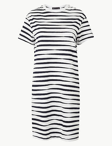 Pure Cotton Striped T-Shirt Dress
