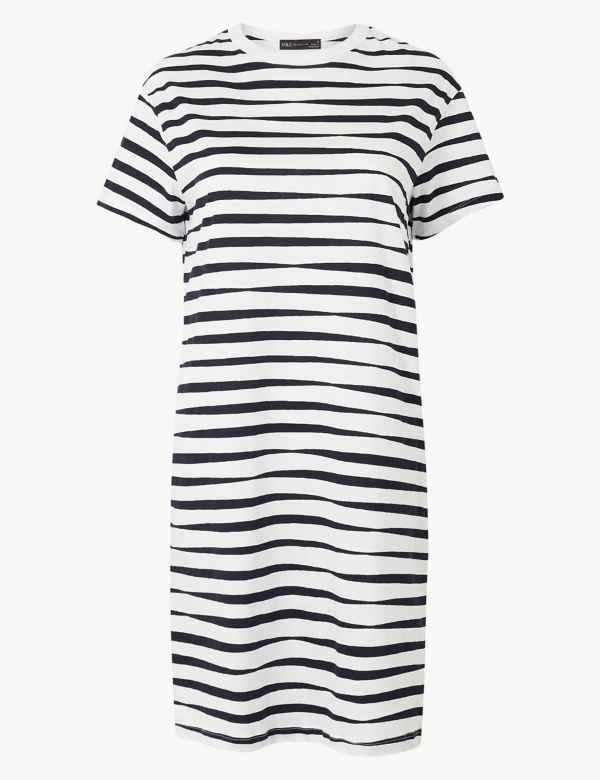 696903f48e Pure Cotton Striped T-Shirt Dress