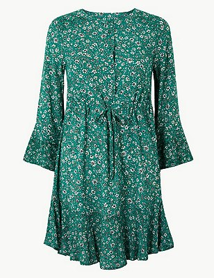 PETITE Floral Drawcord Relaxed Mini Dress