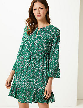 Floral Button Front Relaxed Mini Dress ... 967f51579
