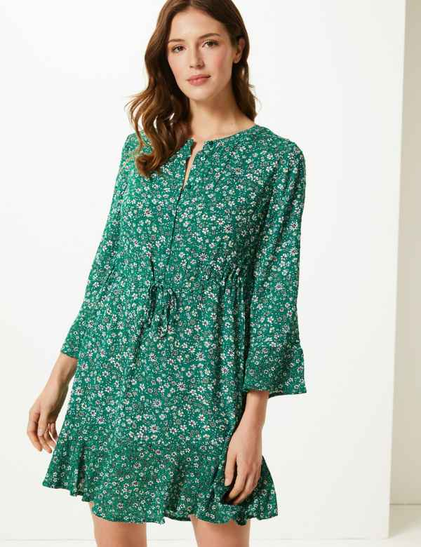 512d4a94415 Floral Drawcord Relaxed Mini Dress