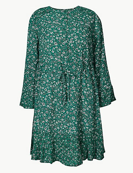 Floral Drawcord Relaxed Mini Dress