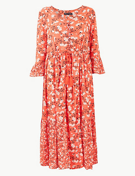 PETITE Floral Drawcord Relaxed Midi Dress