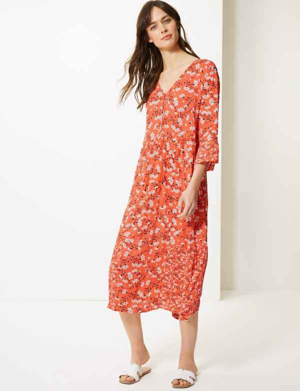 c095ff8d9053 Floral Drawcord Relaxed Midi Dress