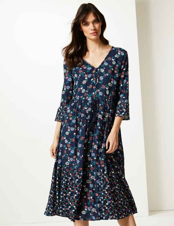 532474fb2244 Floral Drawcord Relaxed Midi Dress