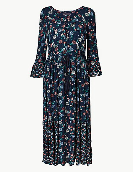Floral Drawcord Relaxed Midi Dress