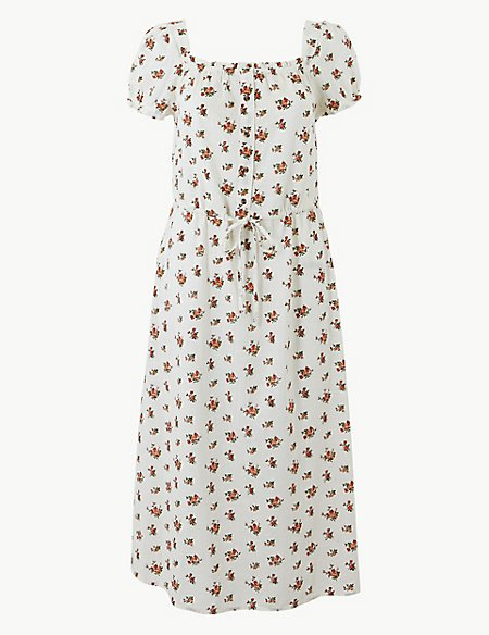 Pure Cotton Floral Waisted Midi Dress