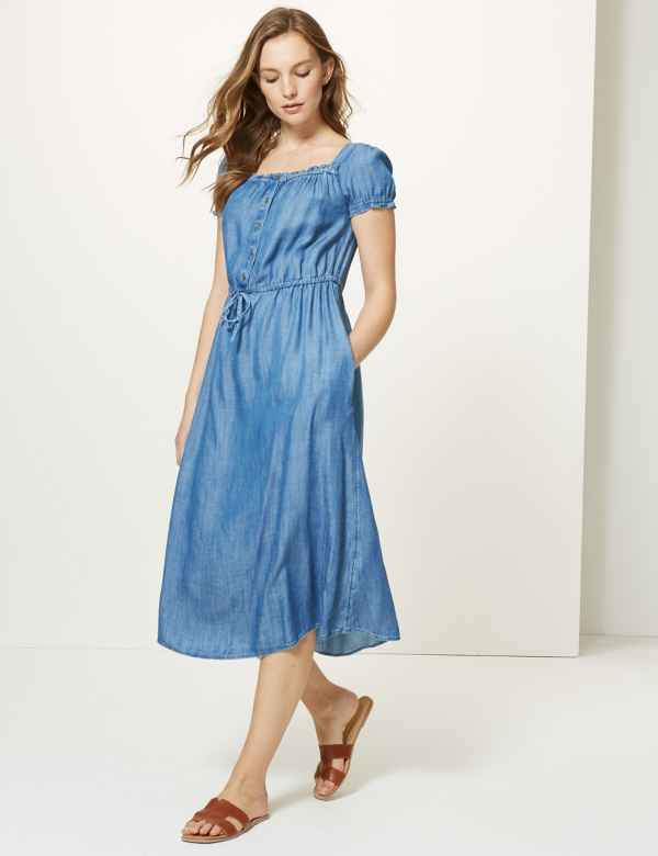 f51bfe8a236 Button Front Waisted Midi Dress