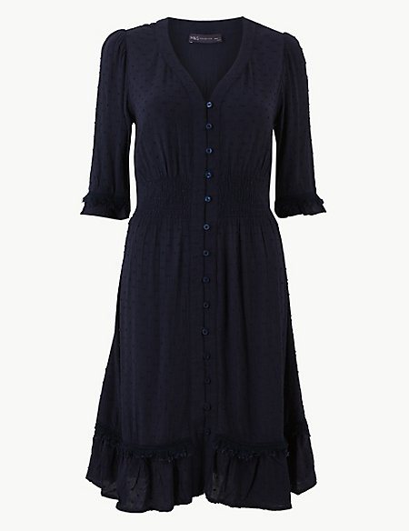 Dobby Button Front Waisted Dress