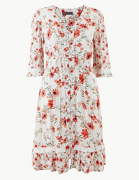 Floral Print Button Front Waisted Dress