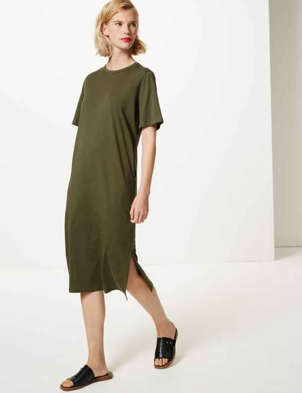 8039a3eb8a Pure Cotton Short Sleeve T-Shirt Midi Dress