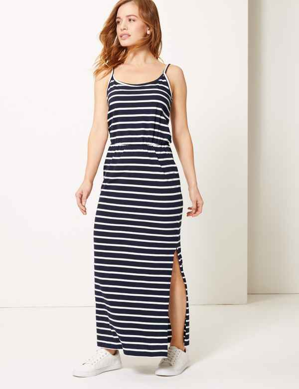 e012782403a85c PETITE Pure Cotton Striped Waisted Maxi Dress