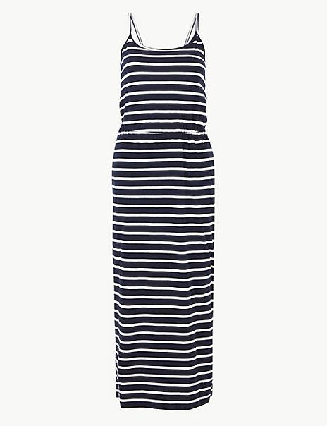 PETITE Pure Cotton Striped Waisted Maxi Dress