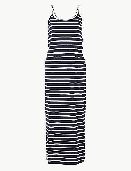 PETITE Pure Cotton Striped Slip Maxi Dress