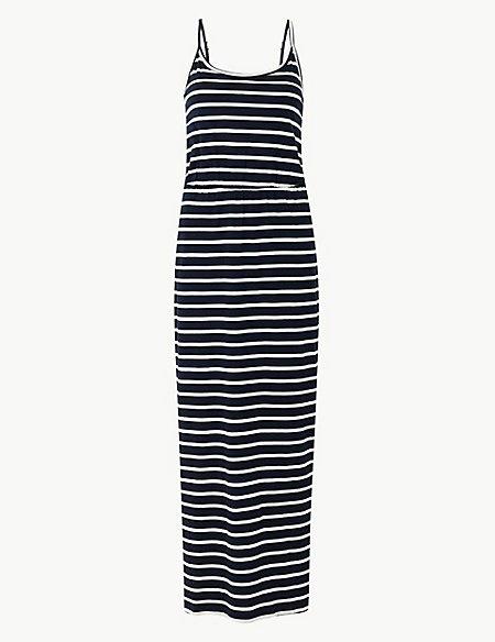 Pure Cotton Striped Waisted Maxi Dress