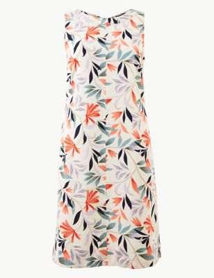 9ef13a4cb44 Linen Rich Leaf Print Shift Dress £25.00