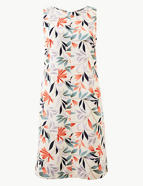 Linen Rich Leaf Print Shift Dress