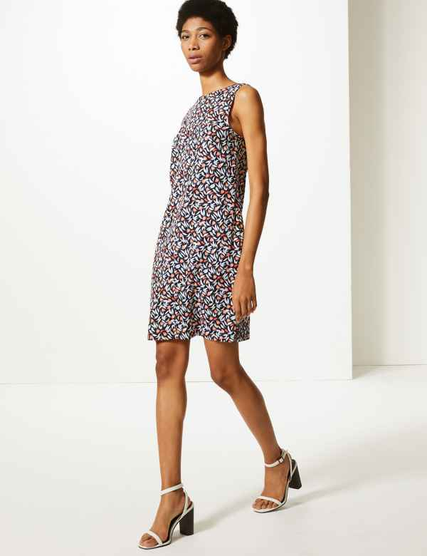 6adffed5a0c6 Linen Rich Printed Shift Dress. Online Only