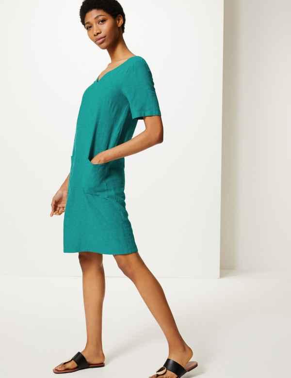7ed9cfe690d Linen Rich Patch Pocket Shift Dress