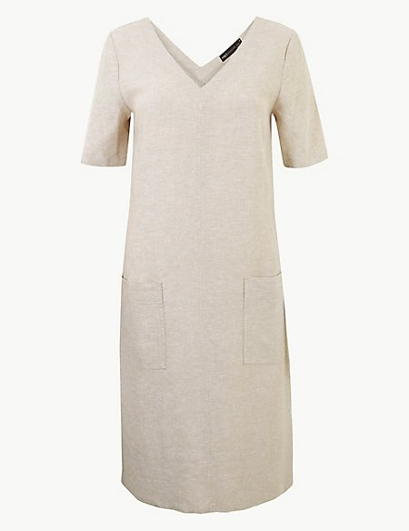 Linen Rich Patch Pocket Shift Dress