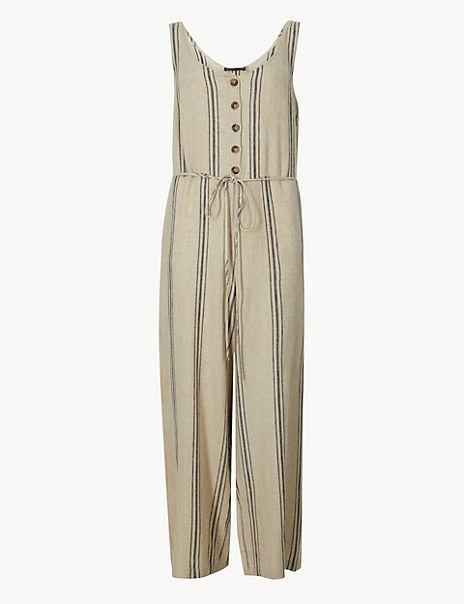 Linen Rich Striped Jumpsuit