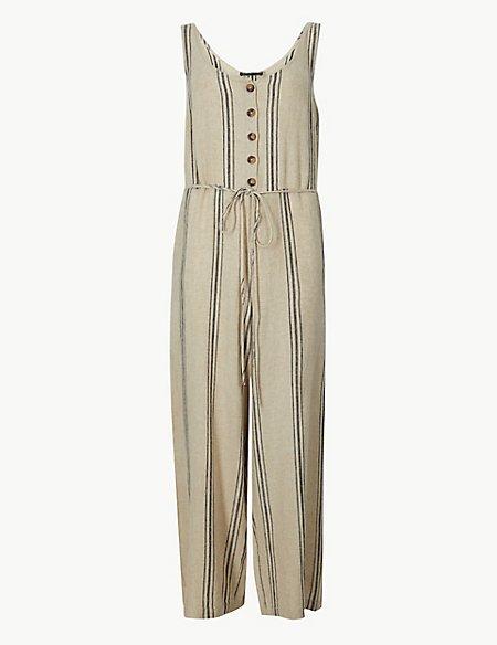 4aeefef212b Linen Rich Striped Round Neck Jumpsuit