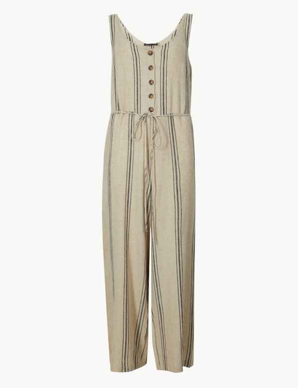 697c6514479 Linen Rich Striped Round Neck Jumpsuit
