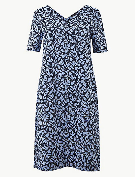 Linen Rich Leaf Print Shift Dress