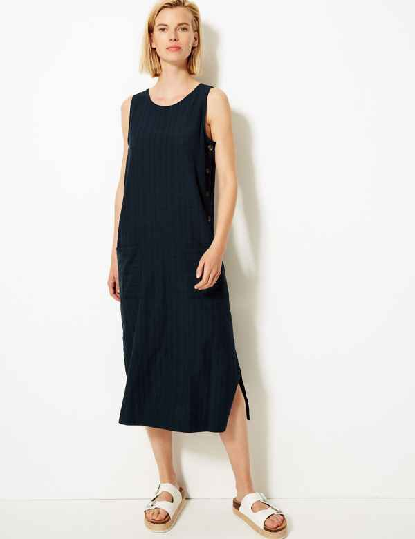 bb3224b7bb1 Cotton Blend Midi Shift Dress