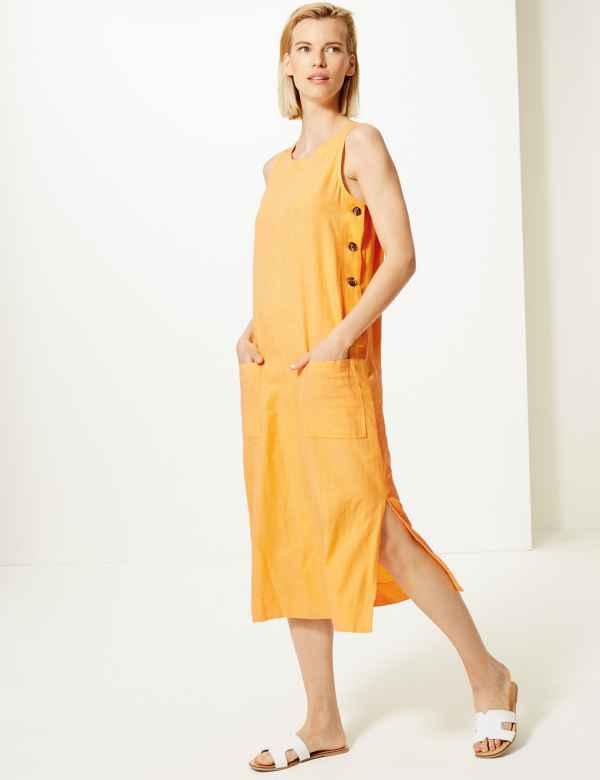 41a147eb61284 Shift Midi Dress with Linen