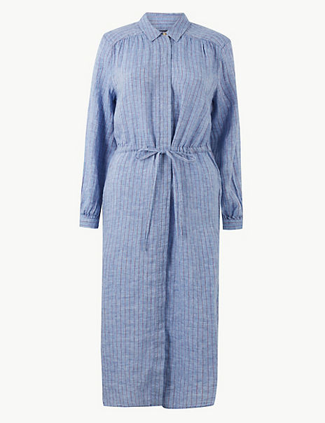Pure Linen Striped Shirt Midi Dress
