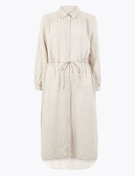PETITE Pure Linen Striped Shirt Midi Dress